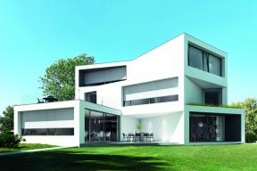 V bytech i rezidenčních domech jsou zachovány úžasné výhledy i při zatažení textilních screenových rolet Schüco ZIP Design Screen. (Zdroj: Schüco)