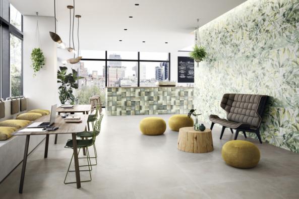 Obklady Urban Jungle (Villeroy & Boch) vás zavedou dotropického ráje. Základem je formát 40 x 120cm, rostlinný dekor ajemné přírodní barvy (www.ptacek.cz)