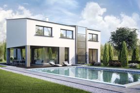 Ukázka návrhu individuálního rodinného domu napozemku veVestci. Autor Ing. arch. Lubomír Křivka.