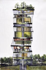 Igelitová věž, návrh obytné věže pro výstavu Nadace Vize 1997