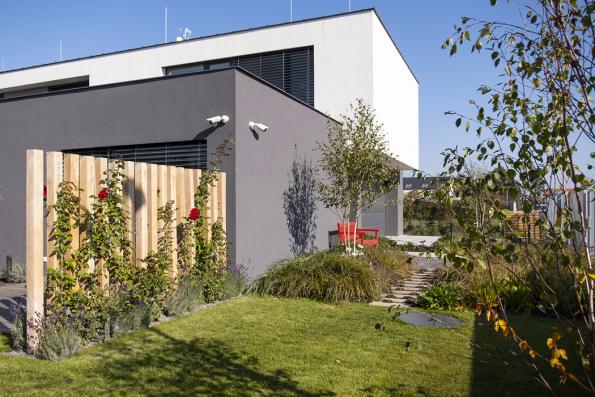 Masivní hranoly slouží jako vydatná opora pro popínavky azároveň jako clonící prvek terasy. Vevertikálním formátu navíc zahradě dodávají šarm aeleganci.