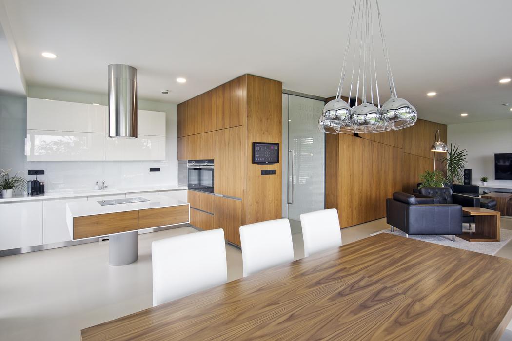 Dospolečné obývací části domu se vchází dveřmi zčirého skla, které přivádějí denní světlo dohloubi domovní chodby.