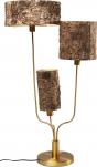 Stolní lampa Corteccia skůrou nastínidlech jako by přišla přímo zlesa. Stojí napevné ocelové podnoži  spovrchovou úpravou imitující mosaz (KARE Design)