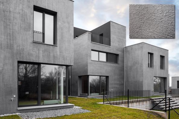 Bytový dům Origami Praha 6 – Kreativní technika kartáčování (Zdroj: Baumit, spol. s r.o.)