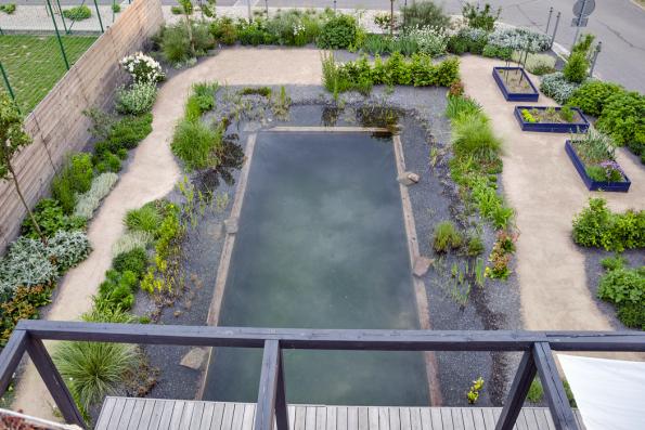 Zahrada je realizována netradičně úplně bez trávníku, plochy vyplňují dynamicky se proměňující husté záhony azpevněné plochy tvořené žulovými odseky aštěrkovými cestami.