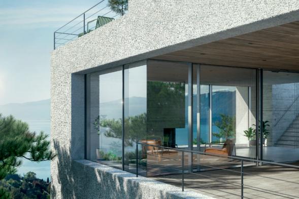 Panoramatický design fasády Schüco FWS 35 PD s pohledovou šířkou hliníkových profilů pouhých 35mm a tepelněizolačními parametry na úrovni pasivního domu byl spolu s dalšími pěti systémy Schüco oceněn titulem Red Dot Product Design Award 2019. (Zdroj: Schüco CZ)