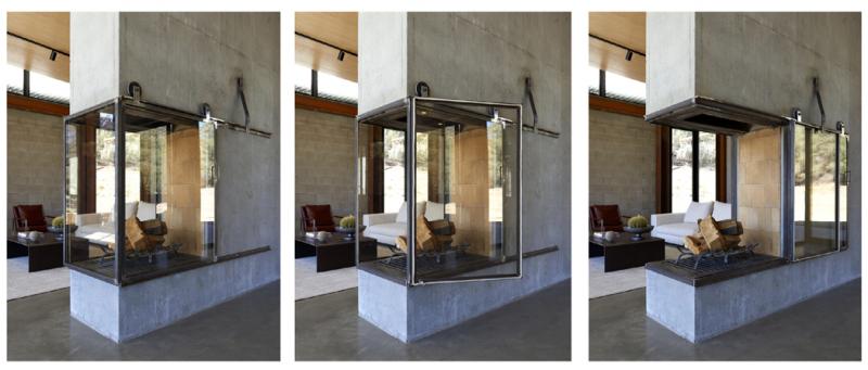 Ústředním bodem obývacího pokoje je dotří stran otevřený betonový krb. Zasklení se posouvá dostran pomocí kolejnicového mechanismu, takže majitelé domu si mohou užít otevřený oheň.