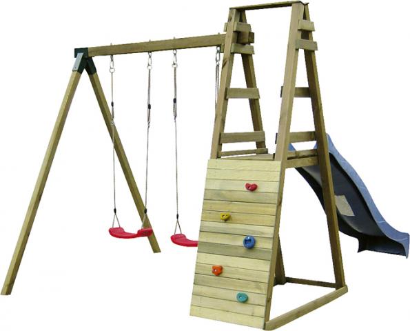 Dětské hřiště Dominik sdřevěnou konstrukcí je vybaveno dvěma houpačkami, pískovištěm askluzavkou adřevěnou šikmou lezeckou stěnou schyty. Cena 6999Kč (HORNBACH)