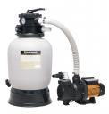 Písková filtrace je kombinací kvalitní nádoby avýkonného čerpadla, zaručuje bezproblémové filtrování vody vbazénu doobjemu 25m3 (MOUNTFIELD)