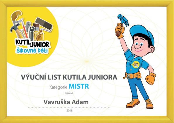 Kutil Junior mistr - výuční list (Zdroj HELUZ)