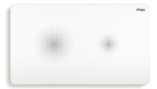 Senzitivní ovládací deska Visign for Style 25 funguje kompletně bezdotykově a dává to jednoznačně najevo. Celá deska je čistě bílá, pouze s rastrovanými světelnými body, které symbolizují ovládací pole – tlačítka. Lak s dosvitovým efektem se přes den nabíjí (i při umělém osvětlení) a slouží jako působivé světlo pro orientaci ve tmě. Tvar a úprava této bezdotykové ovládací desky Visign má zcela vědomě připomínat vzhled moderního chytrého telefonu. Senzitivní deska Visign for Style 25 je zkrátka synonymum pro bezdotykovou eleganci. (Foto: Viega)
