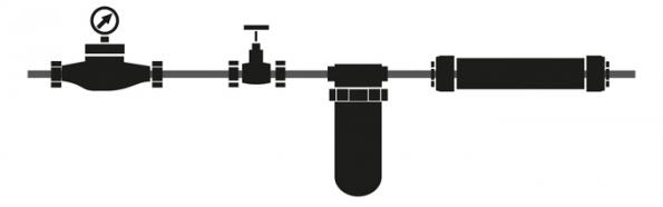 Schéma (zleva): měřič spotřeby, uzavírací ventil, filtr na mechanické nečistoty, IPS ProtectX (Zdroj: DZD Dražice)