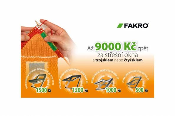 """Až do 15. 11. 2019 probíhá """"cashback"""" akce, kde za nákup energeticky úsporných střešních oken FAKRO můžete získat finanční prémii. Vybírejte střešní okna FAKRO a získejte zpět prémii až 9000 Kč. Jak se zúčastnit? Kupte některý z výrobků FAKRO zařazený do akce, vyplňte přihlašovací formulář, vyčkejte na ověření přihlášky... (Zdroj: FAKRO)"""