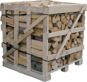 Palivové dřevo v bedně (Zdroj: Hornbach)