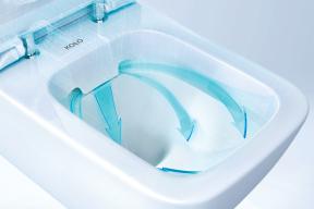 Ergonomicky tvarovaná WC mísa díky patentovanému rozdělovači posiluje proud vody a umožňuje perfektní opláchnutí mísy i při spláchnutí jen 2 litry vody. (Zdroj: Geberit)