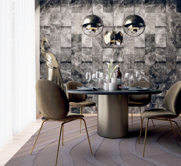 Trendem kamenných obkladů jsou 3D struktury. Společnost Margraf nabízí obklady ve formátu 60 x 60 cm s reliéfním povrchem. Na fotografii je dekor Wing, který si lze vybrat ve 3 provedeních a z 6 různých druhů mramoru. Více informací na www.margraf.it
