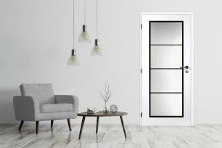 Interiérové dveře MASONITE Dakota s celoplošným prosklením, hliníkovým černým rámečkem a šedočernou metalickou klikou a zámkem. (Zdroj: Masonite)