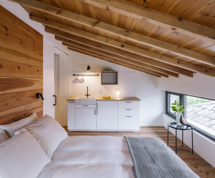 V prvním patře architekti umístili druhou samostatnou ložnici
