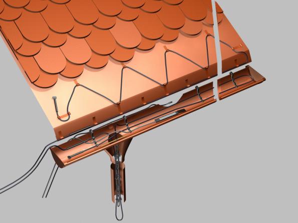 Ukázka správné instalace topných kabelů v okrajové části střechy pod střešní krytinou, v okapním žlabu a uvnitř okapového svodu (FENIX GROUP)