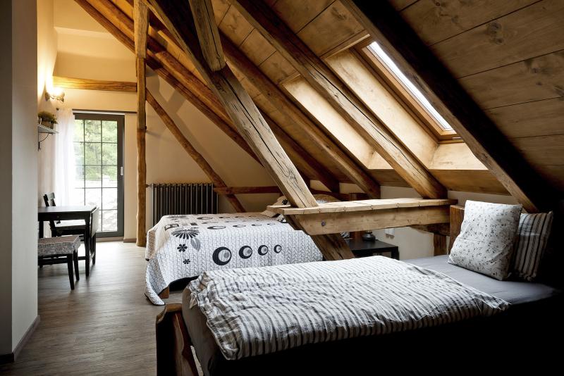 Kouzlo starých časů panuje i v podkroví, kde hrají prim odkryté a renovované původní krovy. Podlahy jsou z vinylu