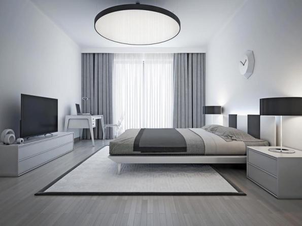 Barvy v ložnici by rozhodně neměly působit rušivě. Nevadí menší barevný akcent, ale ložnice může být klidně i monochromatická, jako v tomto případě (foto Atelier Orsei)