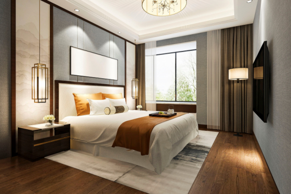 Středobodem ložnice je samozřejmě postel. Podle jejího umístění se řeší celková dispozice pokoje. Pokud je to možné, postel umístěte čelem ke zdi, aby byla volně přístupná z obou stran