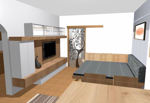 """Tradičním řešením při spaní v obývacím pokoji jsou rozkládací nebo sklápěcí lůžka. Můžeme ale využít i kvalitní matraci s čalouněním doplněnou opěrnými polštáři, na které se potom """"válí"""" celá rodina (foto Studio Evalofa)"""