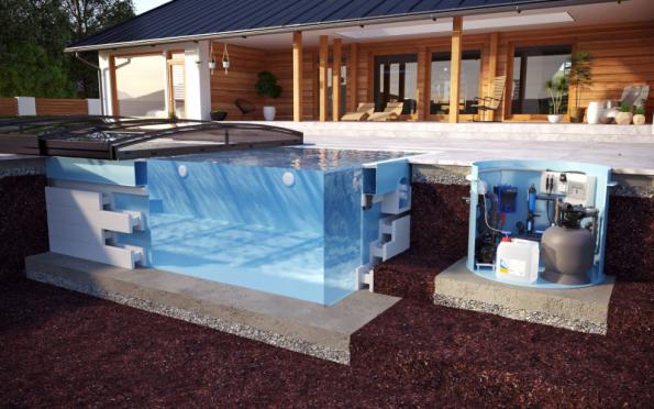 Průřez ukazuje technologie bazénu: systémy čištění, zachycování nečistot a ochrany před vnějším znečištěním (ALBIXON)