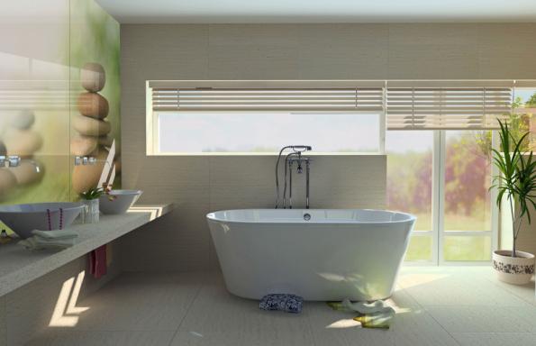 Stěny v koupelně nemusí být obloženy jen keramikou, ale nabízí se i netradiční řešení v podobě originálních skleněných fotografických obkladů grafosklo (JAP FUTURE)