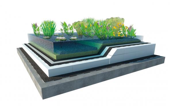 Jezírko ve střešní zahradě je vhodné  pro novostavby. Střecha s jezírkem vyžaduje pravidelnou údržbu. (Zdroj: ISOVER)