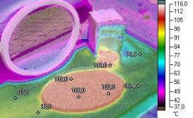 2b. Zcela jiná je situace v případě šedých desek. Šedá barva desky sluneční záření intenzivně pohlcuje a teplota prudce stoupá. Ideální odraz od zrcadla má překvapivě téměř shodný účinek jako vedlejší rozptýlený odraz – oba účinky výrazně navyšují teplotu šedé desky tj. zvyšuje se dilatace a riziko teplotního poškození.