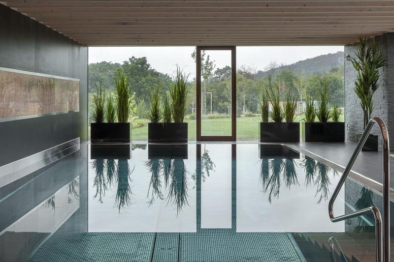 Ani v bazénu nechybí kontakt s přírodou. Dřevěné trámové stropy tlumí hluk, aby byla relaxace co nejklidnější