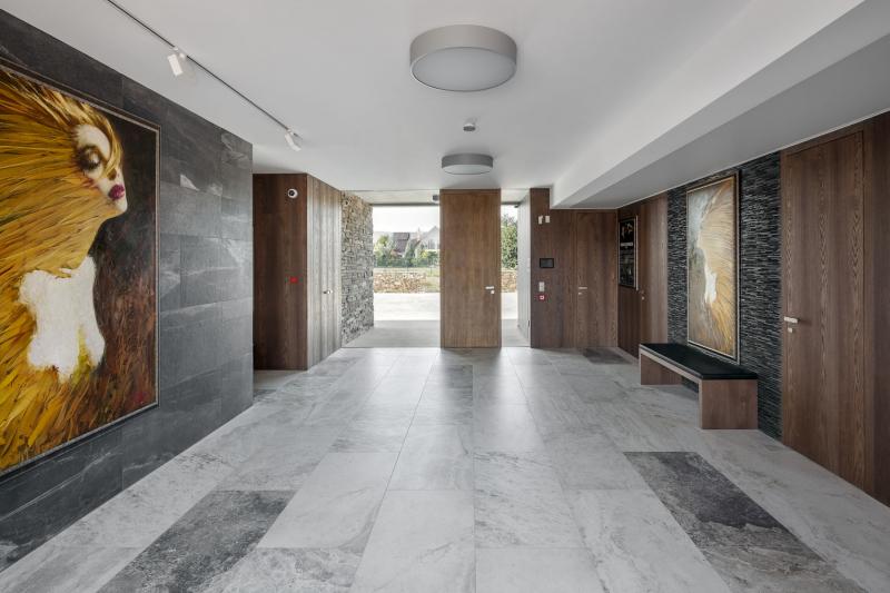 Pohled na hlavní vstup do domu. Velká hala je obložena deskami s dubovou dýhou a štípanou rulou jako na fasádě. Podlahu pokrývá italská velkoformátová keramická dlažba