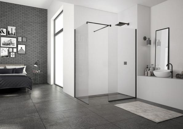 Sprchové kouty walk-in mají 1 až 3 skleněné stěny, mohou mít různou velikost (na fotografii 80 x 140 cm) a snadno se přizpůsobí i atypickému prostoru (SANSWISS)
