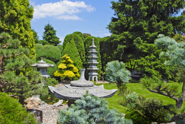 V zadní části zahrady krásu mnoha druhů vzácných jehličnanů dotváří vysoká lampa Pagoda