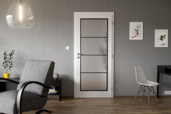 Bílé dveře CLARA MASONITE s 3vrstvým HQ lakem, typ Dakota se satinovaným prosklením polí