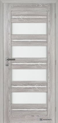 Rámové dveře Victoria Masonite kombinující plné panely v dřevodekoru dubu šedého a satinovaného skla