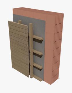 Skladba provětrávané fasády (bez vložené tepelné izolace) s obvodovými bloky HELUZ FAMILY či FAMILY 2in1 (zdroj: HELUZ)