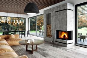 Kvalitní rohová krbová vložka Impression, která vyniká svým designem, vysokou kvalitou zpracování a inovativním řešením procesu spalování dřeva (ROMOTOP)