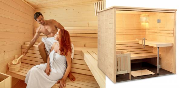 Kabina finské sauny Freya z pečlivě vybraného smrkového dřeva má čtvercový půdorys a luxusní prosklené průčelí. Za ním vás čeká útulný interiér s členitým uspořádáním tří lavic pro nerušenou relaxaci podle vašich představ (zdroj: Mountfield)