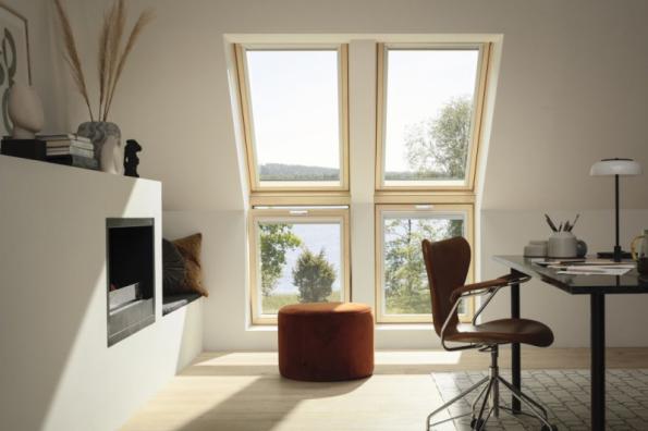 Vylepšená střešní okna z kategorie VELUX Standard Plus přinášejí 4 benefity: dokonalejší tepelnou izolaci, lepší schopnost izolovat zvuk, útlum hluku z deště a samočisticí vrstvu (zdroj: VELUX)