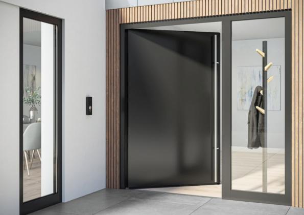 Dveřní systém Schüco AD UP (Aluminium Door Universal Platform) s bezbariérovým zapuštěným prahem zajišťuje snadný přístup a zároveň splňuje standardní požadavky na vchodové dveře, jako je vodotěsnost a propustnost vzduchu (zdroj: Schüco CZ)
