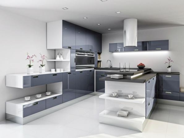 """Ocelově šedý odstín a vysoký lesk dvířek T.acrylic umožňují dekoru """"Šedý Londýn"""" mnohostranné použití, v kombinaci s nejrůznějšími dekory i jako nevšední barevný solitér (TRACHEA)"""