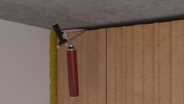 Vyzdí se stěna až ke stropu. Mezi stropem a stěnou se ponechá mezera vysoká přibližně 20 mm. Spára mezi stropem a zdivem se vyplní protipožární PU pěnou TYTAN B1 (červeno-černá kartuše). Tloušťka spáry může být max. 20 mm