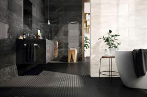 Dlažba série Genus odráží černobílou elegancí motiv přírody. Vyrábějí se tři barevné odstíny, čtyři formáty až do velikosti 120 x 120 cm (www.koupelny-ptacek.cz)