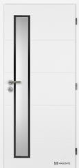 Bílé dveře Clara Masonite Vertika s úzkým prosklením s černým rámečkem