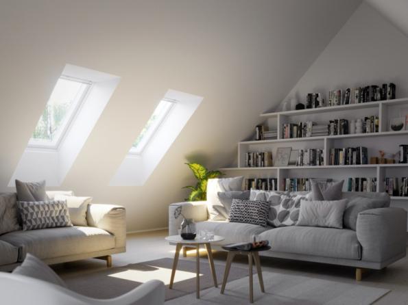 Více střešních oken prosvětlí místnost (zdroj: VELUX)